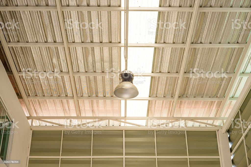 lamp inside an factory stock photo
