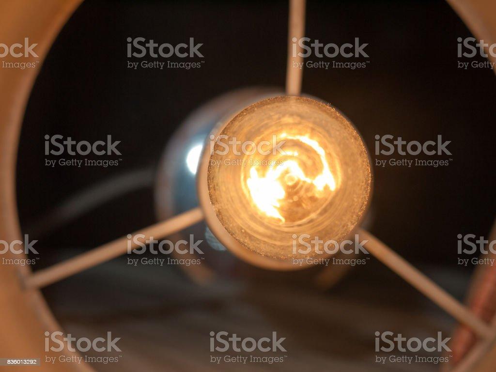 lamp light bulb overhead up close interesting energy electric stock photo