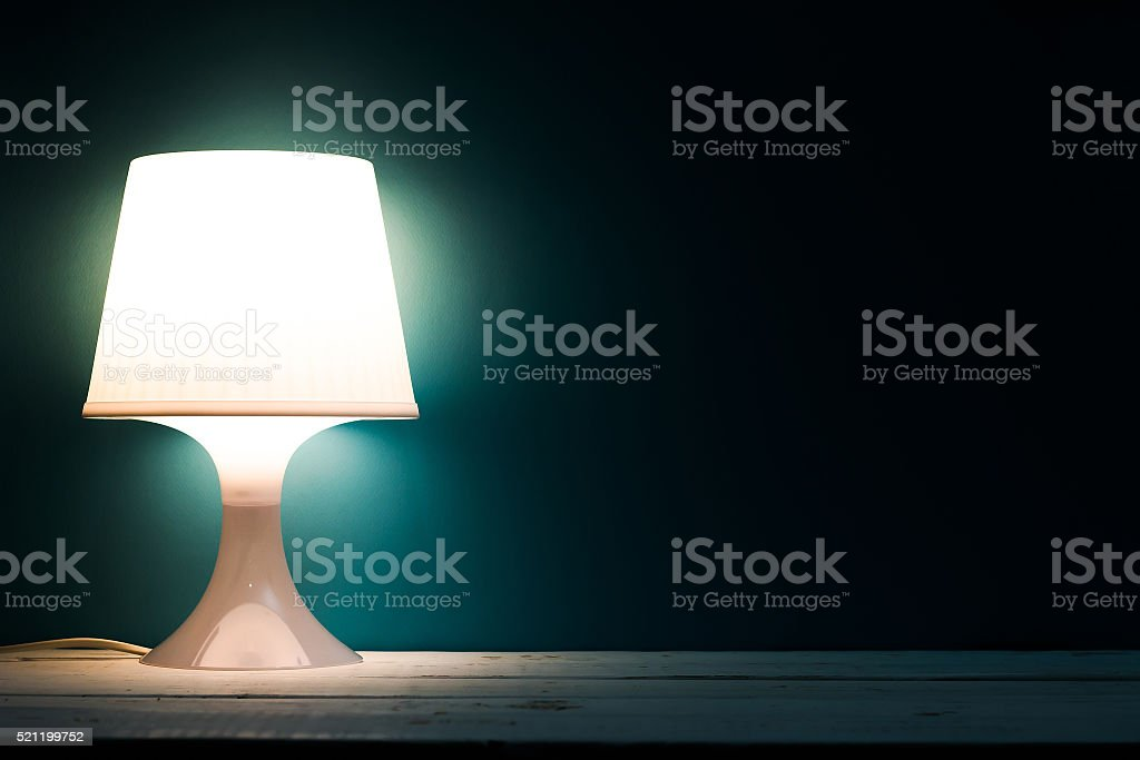Lamp night light in a dark background stock photo