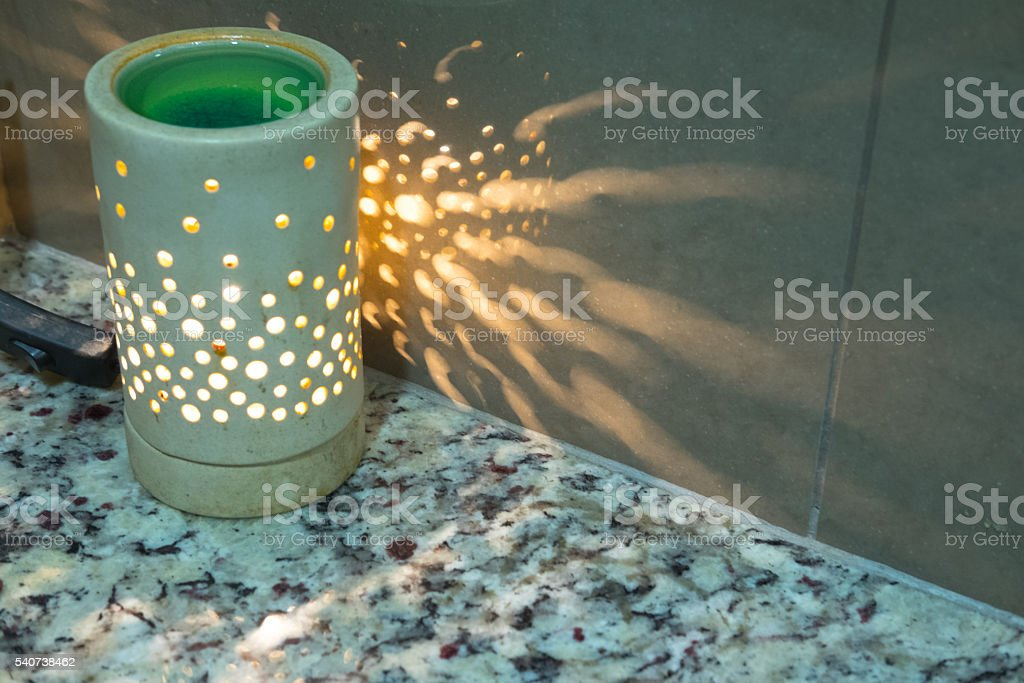 Lamp on a night table stock photo