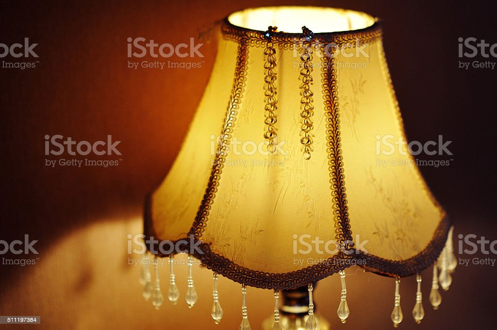 lamp on the bedside table in bedroom stock photo