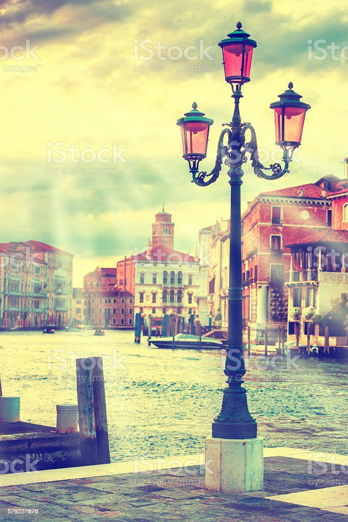 Lamp on the streen at Grand Canal, Venice stock photo