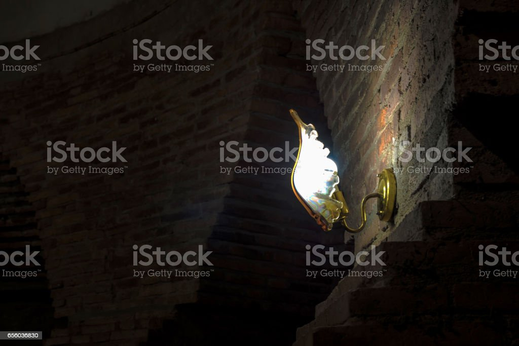 lamp on wall stock photo