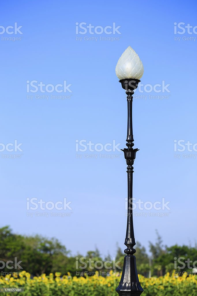 Lamp pole in a park with blue sky stock photo
