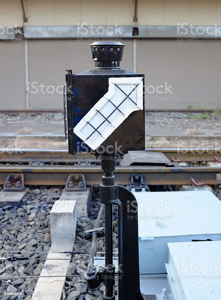 Lamp pole (signal light) in railway station stock photo