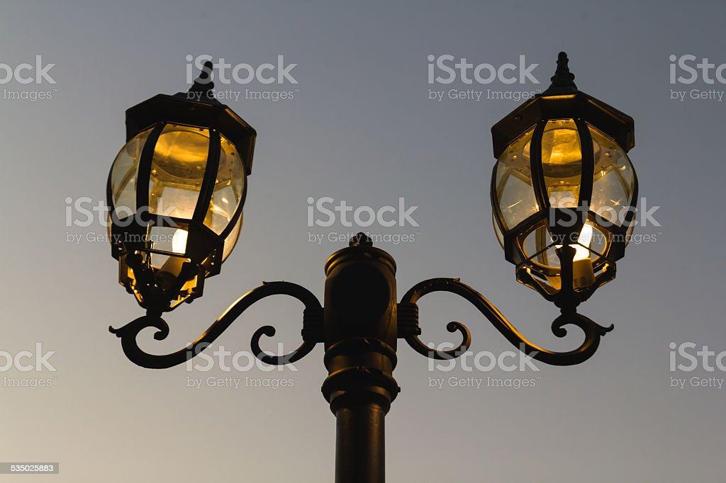 Lamp Post on Street Road stock photo