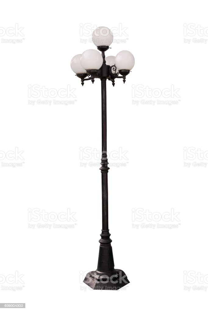 Lamp Post Street Road Light Pole on white background stock photo