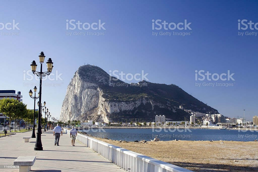 Lamp posts leading to Gibraltar stock photo