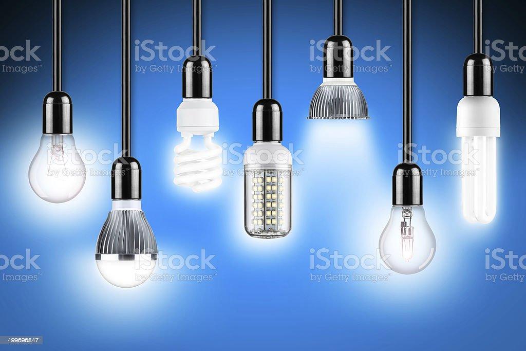 lamp row blue stock photo