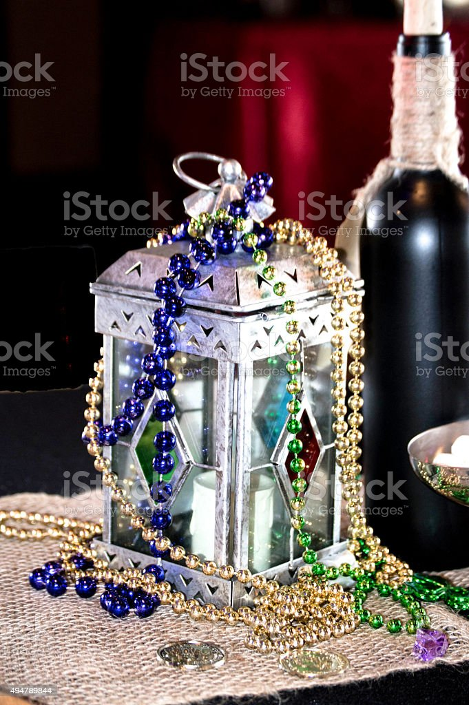 Lamp with Beads Bottle of Wine stock photo