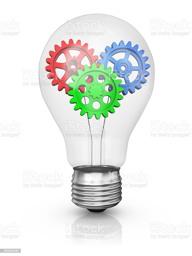 lamp with color gears stock photo