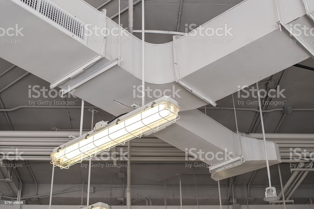 lamp with duct background, Loft style. stock photo