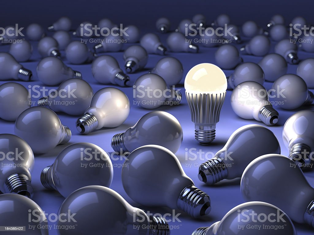 LED lamp with old lightbulbs stock photo