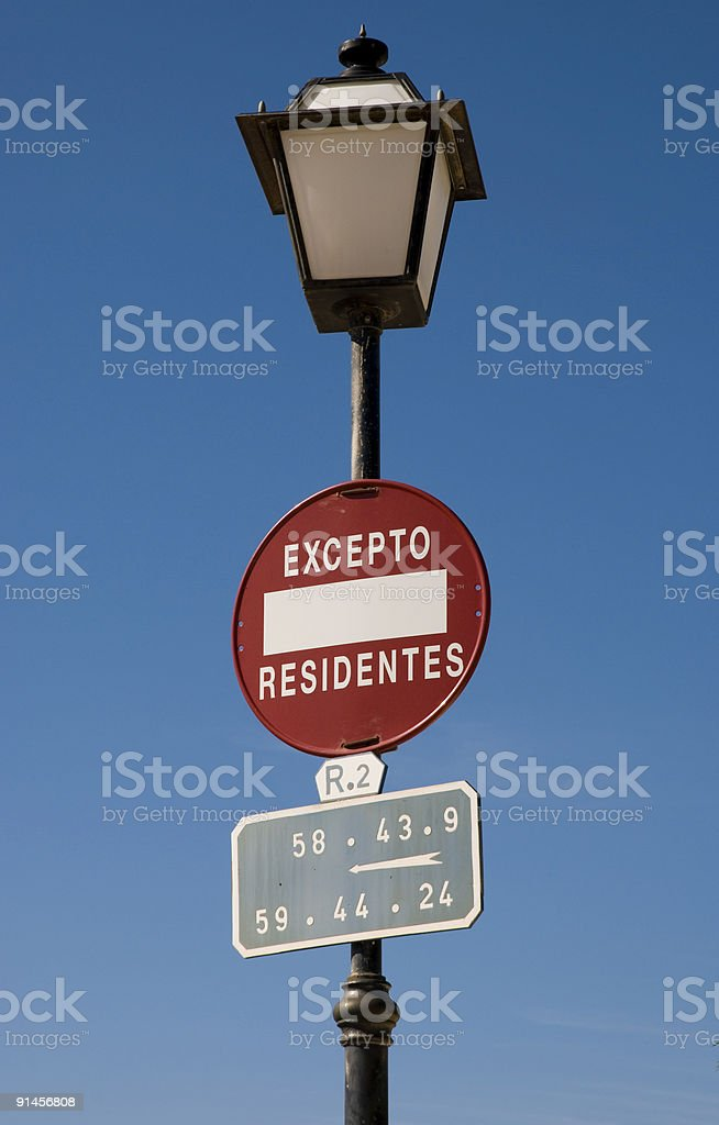 Lamp withTraffic Sign royalty-free stock photo