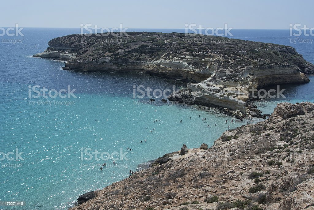 lampedusa island stock photo