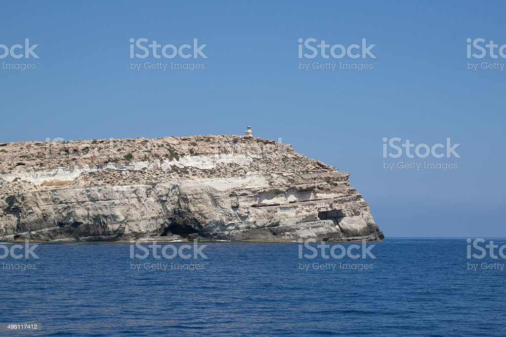 Lampedusa island, the souther italian island in the mediterranean sea stock photo