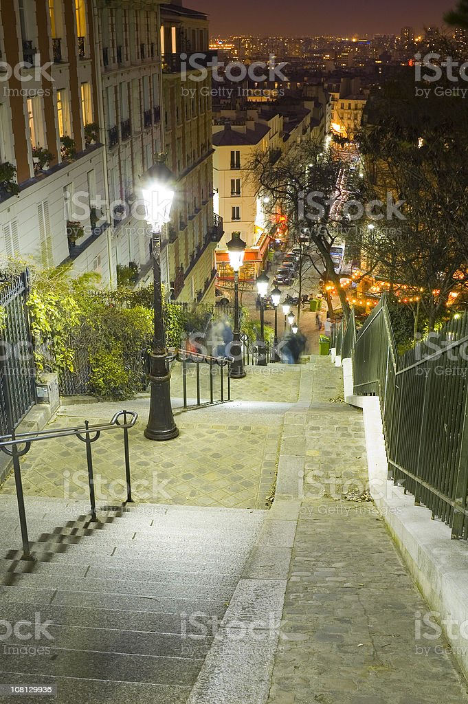 Lamplight, cafes and steep steps, Paris royalty-free stock photo