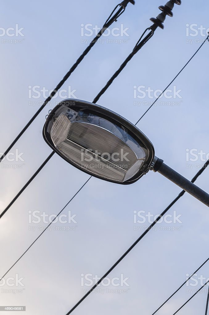 Lamppost and cable royalty-free stock photo