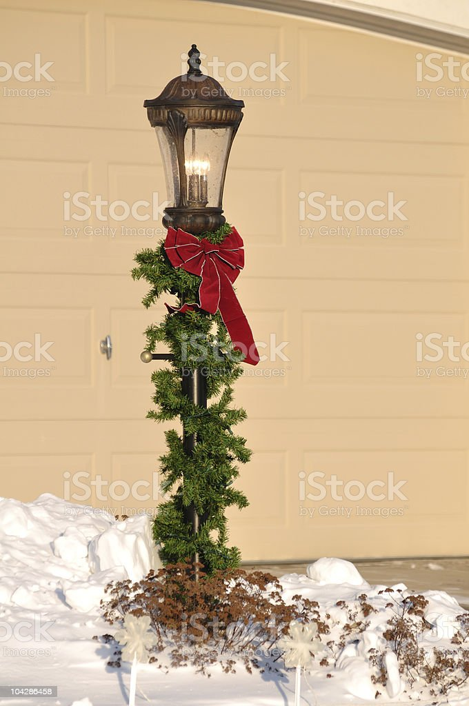 Lamppost Decorated for Christmas stock photo
