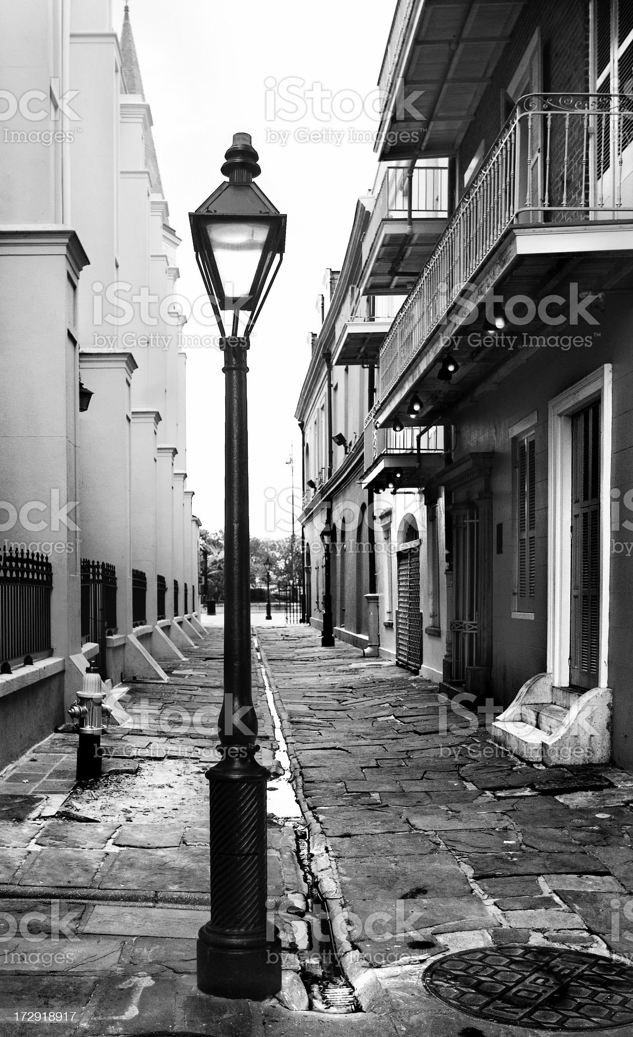 Lamp-post in Alley royalty-free stock photo