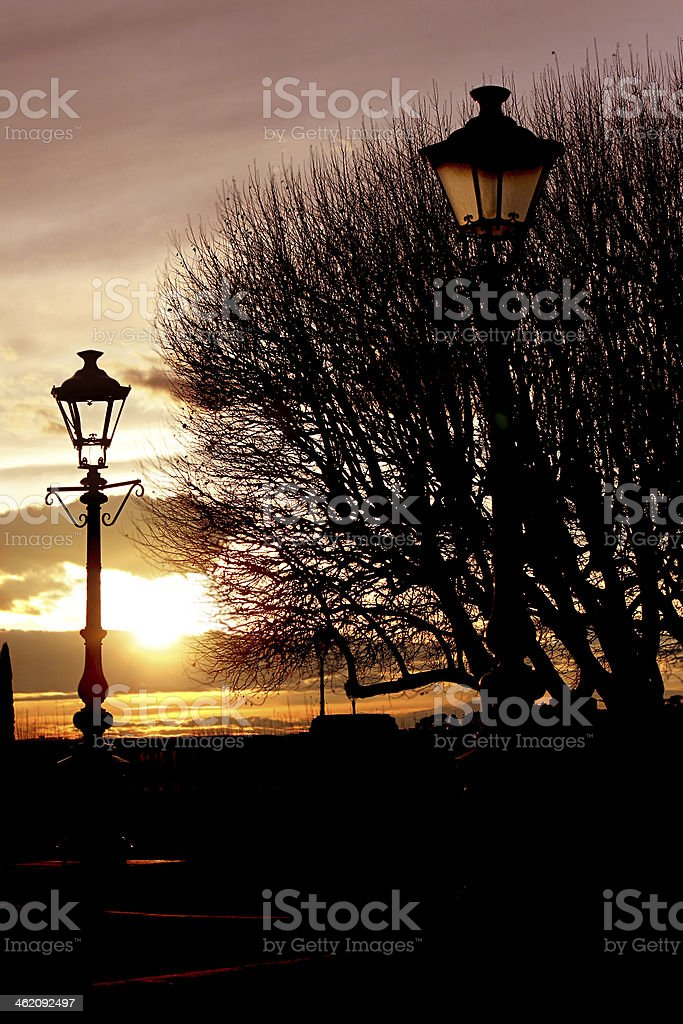 lamppost in the park stock photo