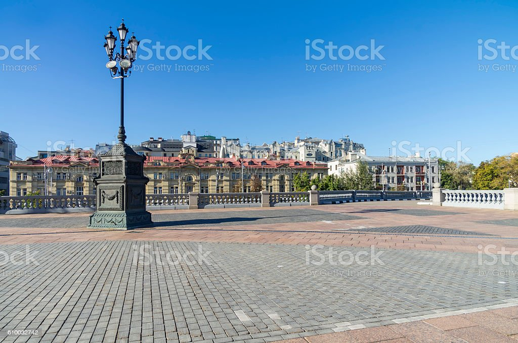 Lamppost on the square near Christ the Savior Cathedral, stock photo