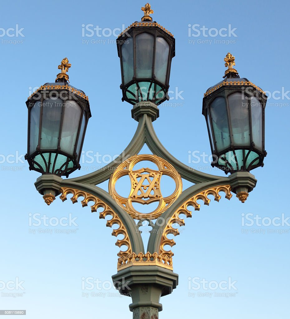 Lamppost on Westminster Bridge stock photo
