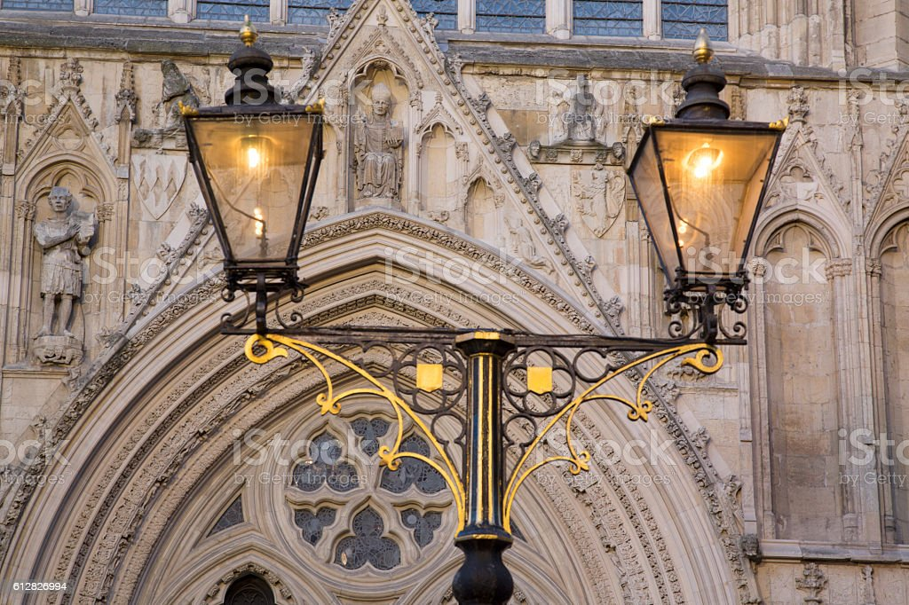 Lamppost outside York Minster Cathedral Church, England stock photo