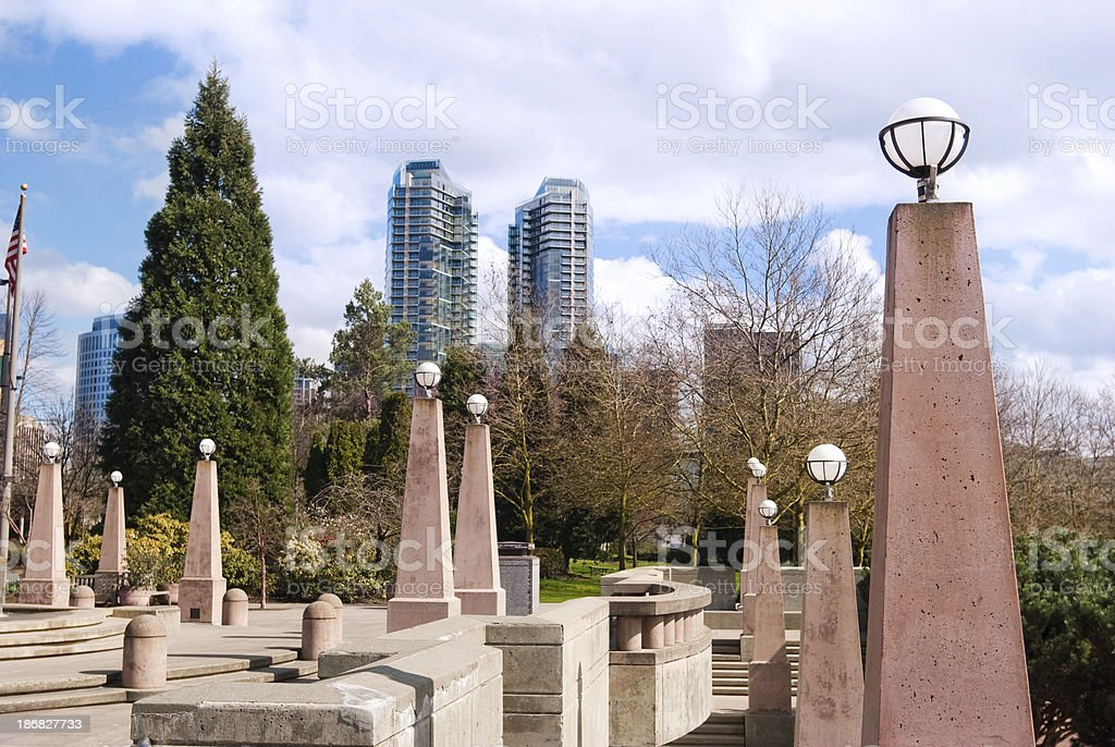 Lampposts at Downtown Park in Bellevue, WA stock photo