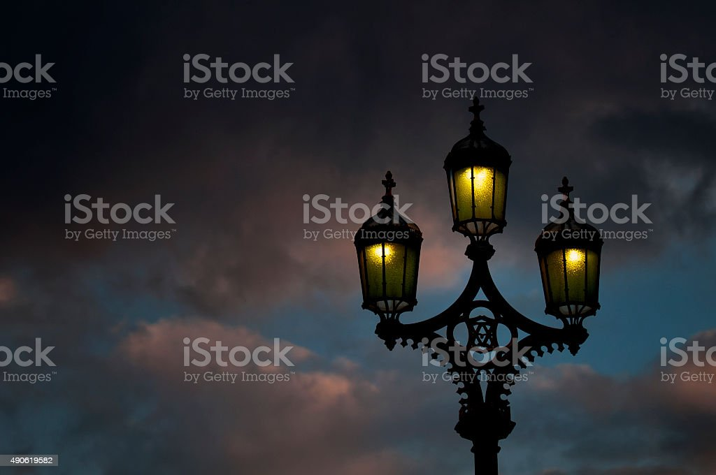 Lamps at Westminster Bridge stock photo
