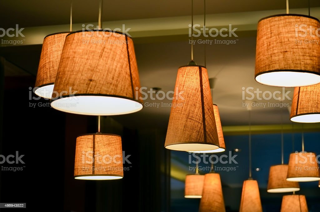 Lamps in a cafe shop stock photo