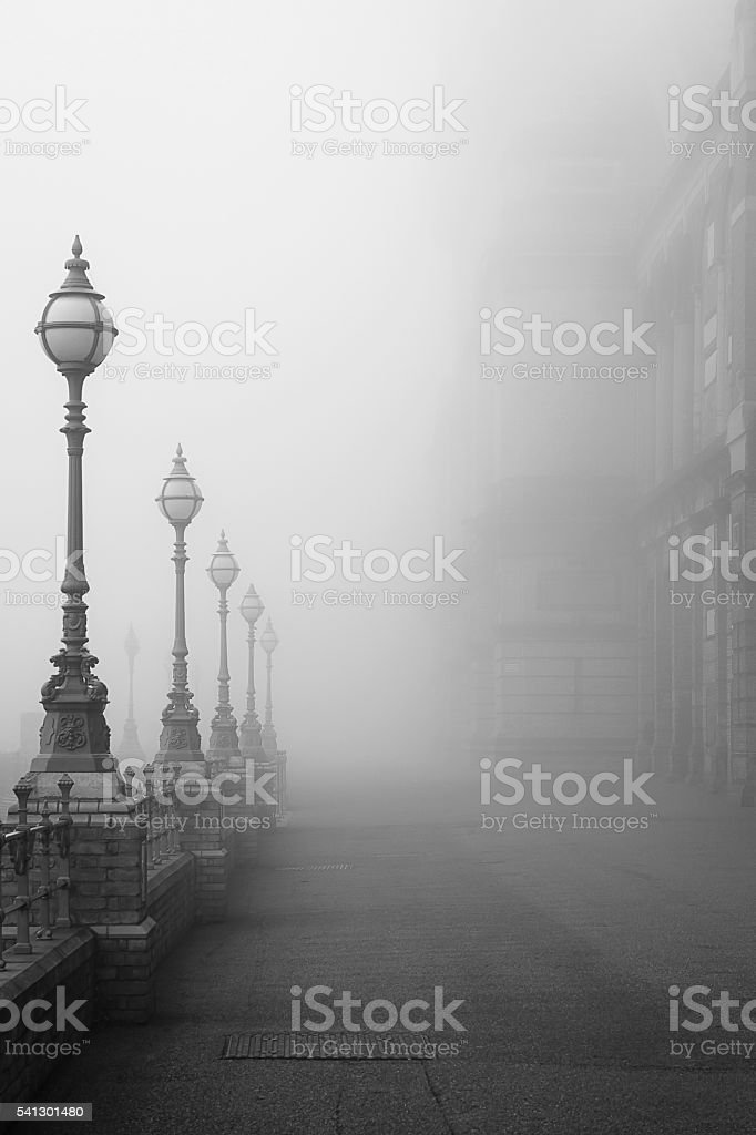 Lamps in a fog. stock photo