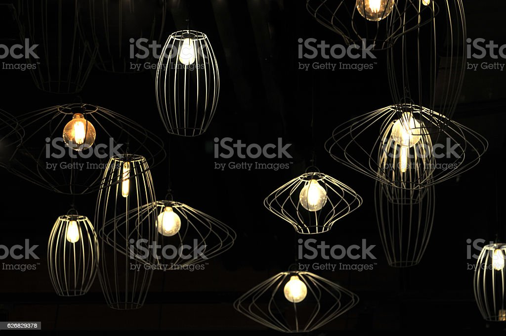 Lamps in bar stock photo