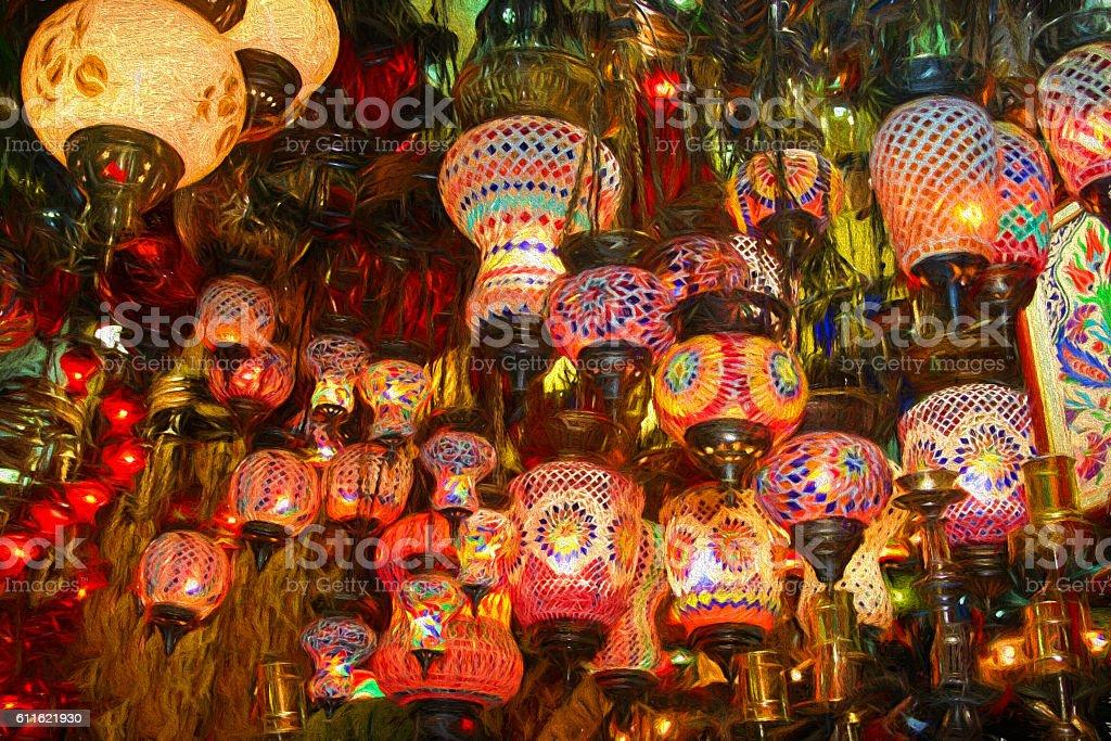 Lamps on sale in bazaar stock photo