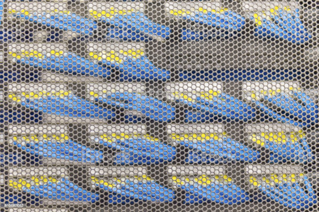 Lan cable in Cambridge Server Rack stock photo