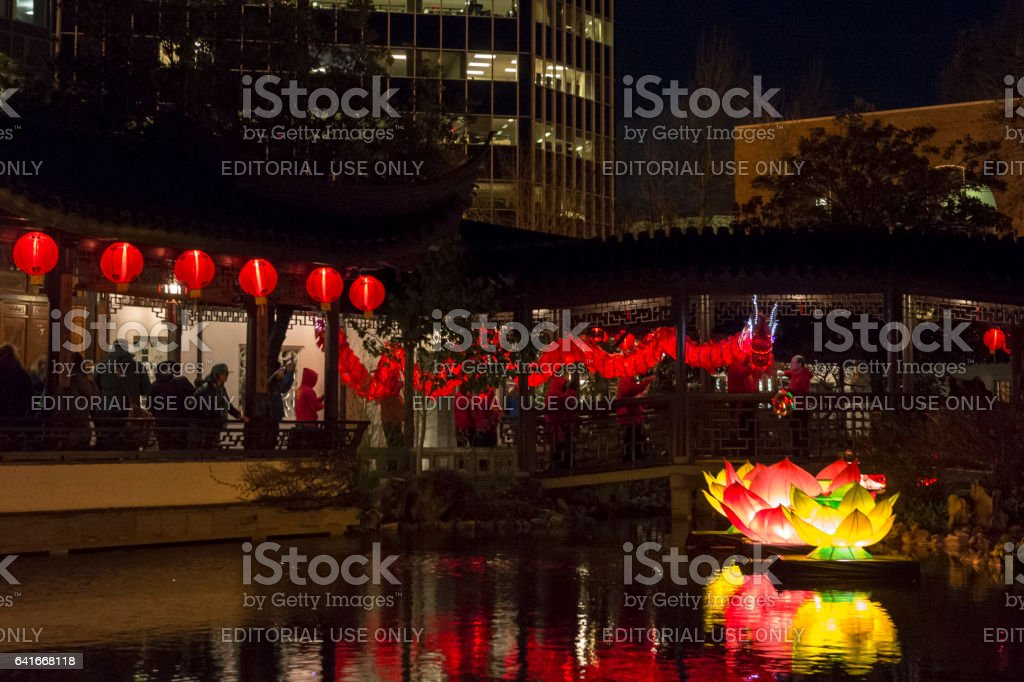 Lan Su Chinese Garden Chinese Dragon Procession Portland Oregon stock photo