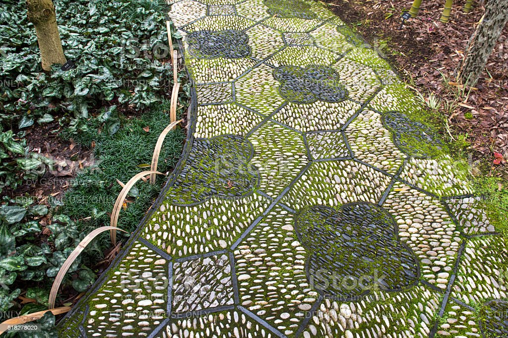 Lan Su Chinese Garden Decorative Stone Path Portland Oregon stock photo