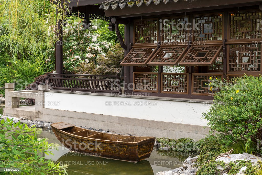 Lan Su Chinese Garden Portland Oregon Boat Pavilion stock photo