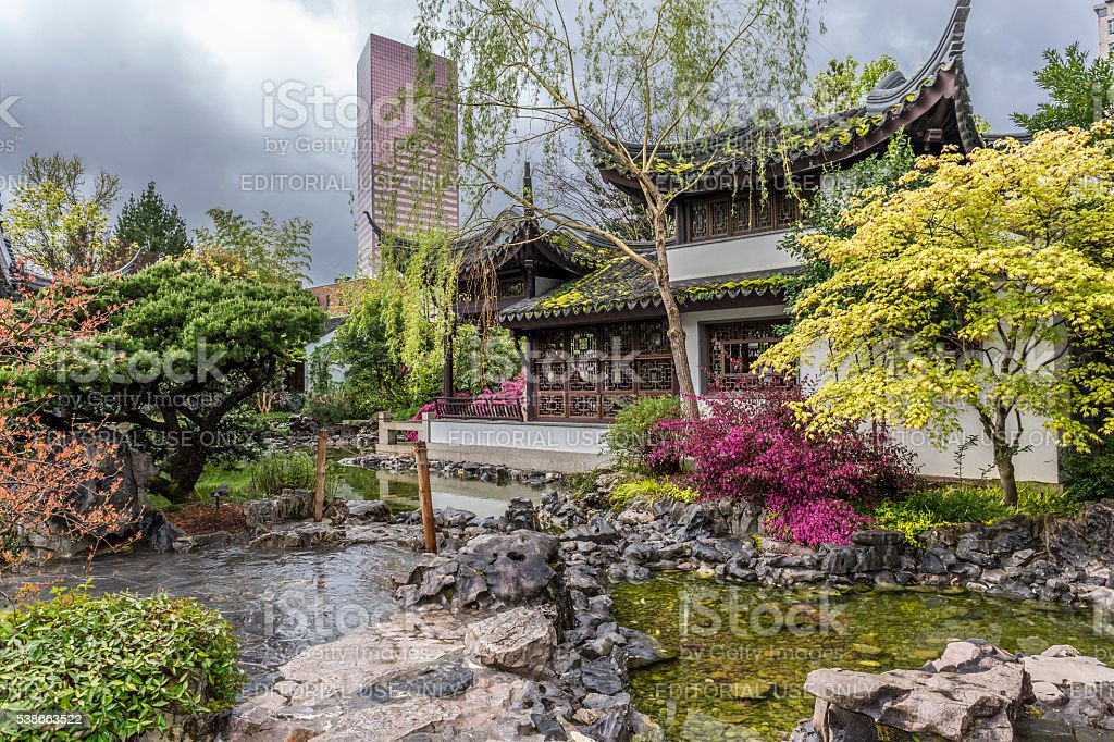 Lan Su Chinese Garden Portland Oregon Boat Pavilion Spring Colors stock photo