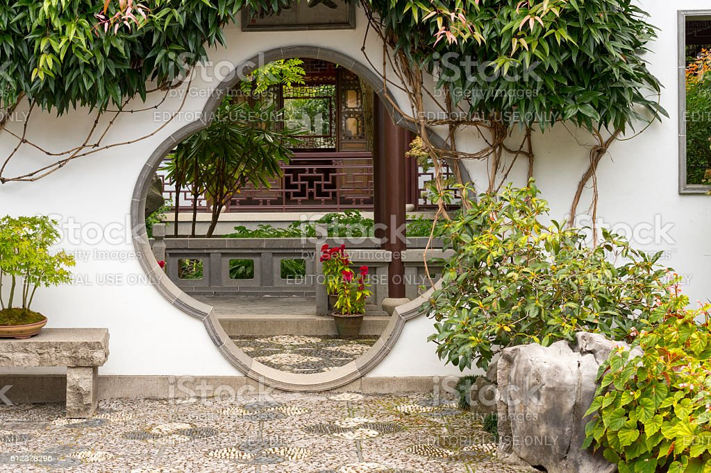 Lan Su Chinese Garden Round Entrance Portland Oregon stock photo