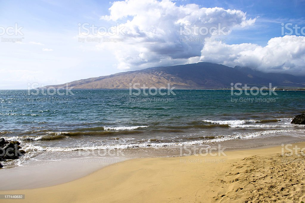 Lanai view from Maui island stock photo