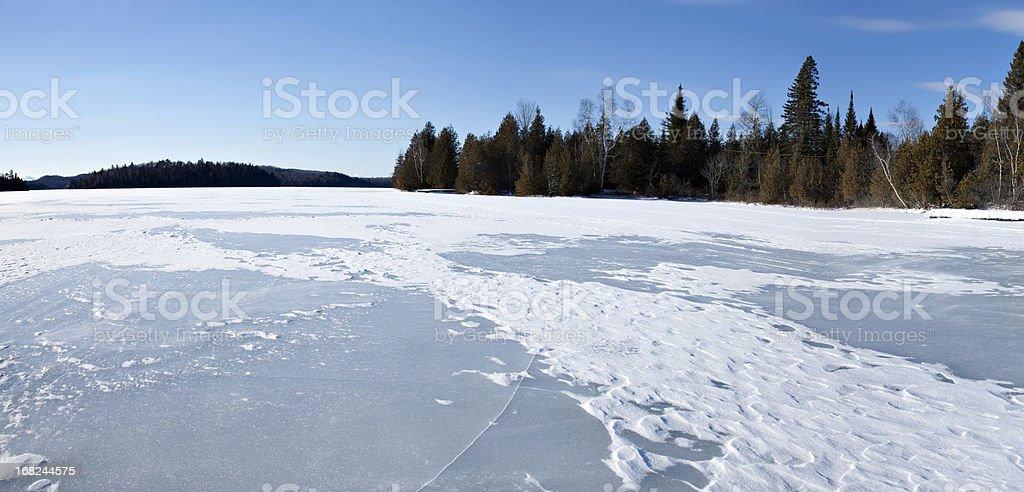 Lanaudiere Quebec frozen lake panorama stock photo