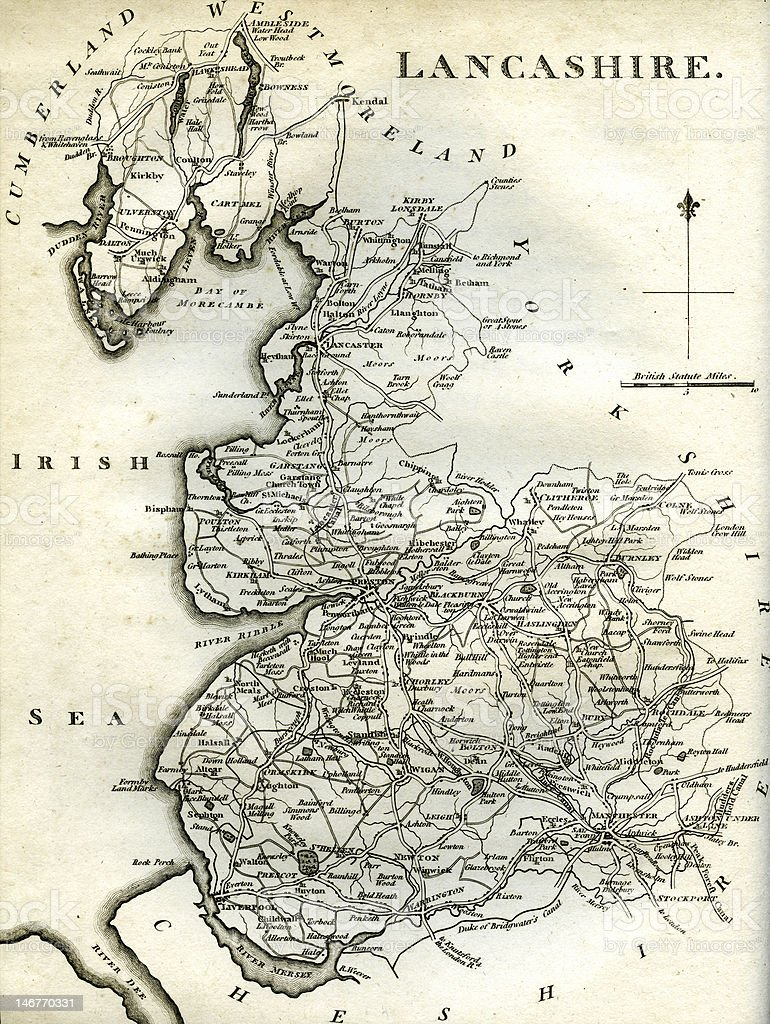 Lancashire Map dated 1795 royalty-free stock photo