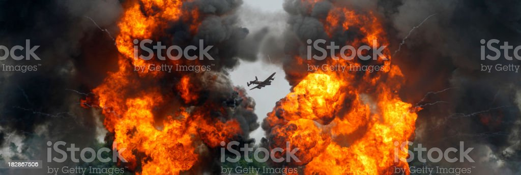 Lancaster Bomber and an Explosion stock photo