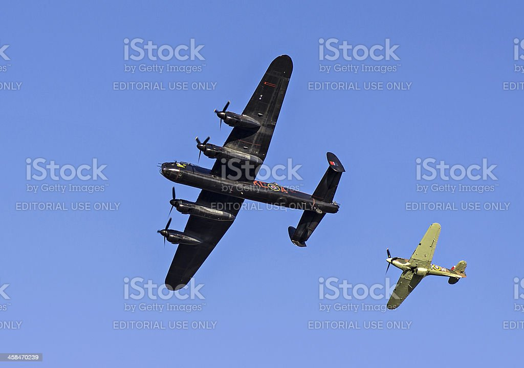 Lancaster Bomber and Hawker Hurricane Fighter Plane Escort stock photo