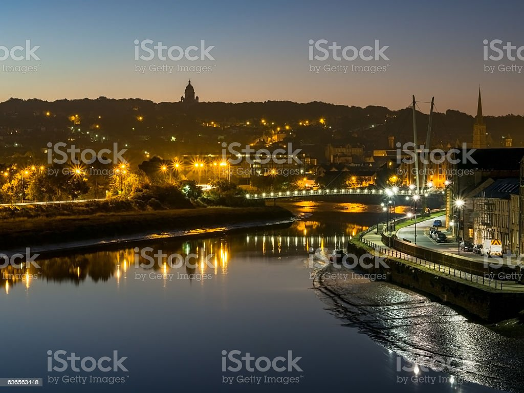 Lancaster City at dawn with lights sparkling stock photo