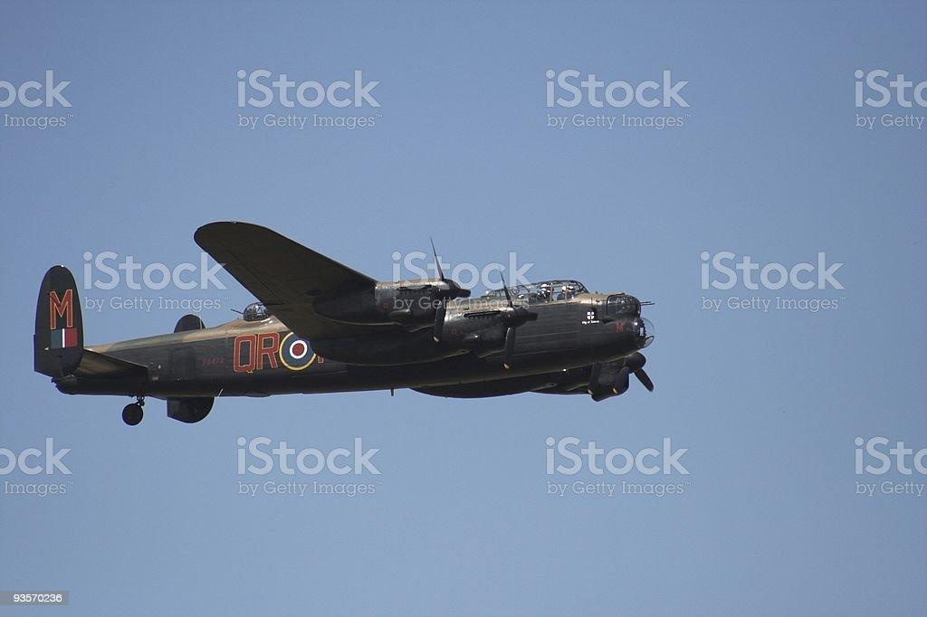 Lancaster in flight stock photo