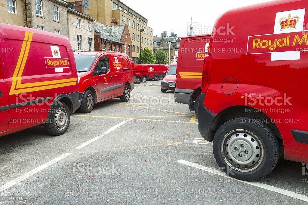 Lancaster: parked Royal Mail vans stock photo