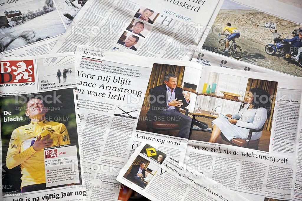 Lance Armstrong news - newspapers # 17 XXXL stock photo