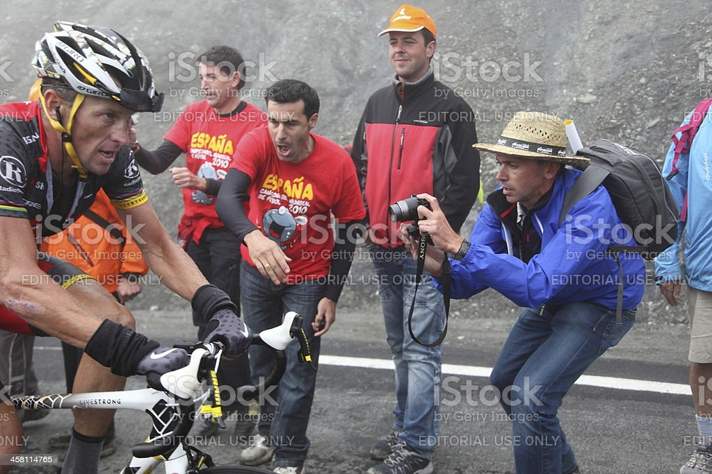 Lance Armstrong on Col du Tourmalet stock photo